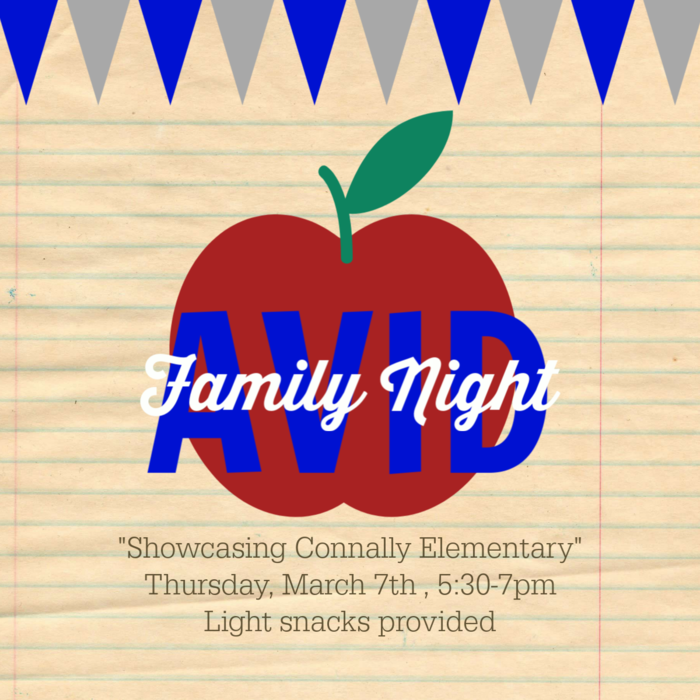 Poster for Connally Elementary avid night march 7th from 5:30 to 7:00